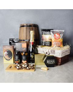 Gourmet Snack Medley Gift Set with Champagne, champagne gift baskets, gourmet gift baskets, gift baskets