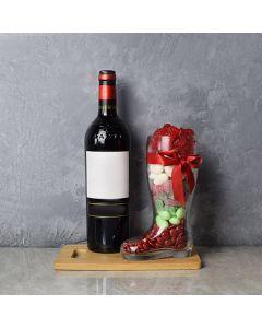 Christmas Wine & Candy Boot Gift Basket