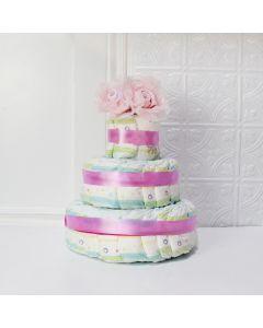 BABY GIRL DIAPER CAKE GIFT SET, baby girl gift hamper, newborns, new parents