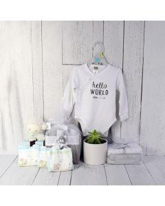 UNISEX HELLO WORLD GIFT SET, unisex baby gift hamper, newborns, new parents